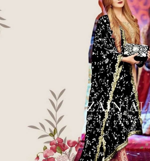 Velvet Heavy Embroidered Winter Shawl in Black (SHAWL-14) Price in Pakistan