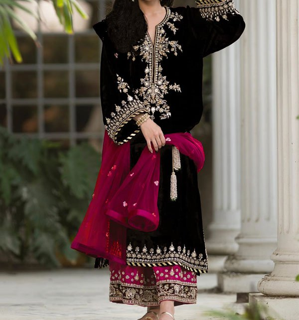 Black Velvet Embroidery Suit With Net Embroidery Duppata Unstitched (CHI-292) Price in Pakistan