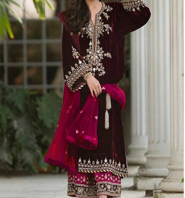 Velvet Embroidery Suit With Net Embroidery Duppata Unstitched (CHI-193) Price in Pakistan
