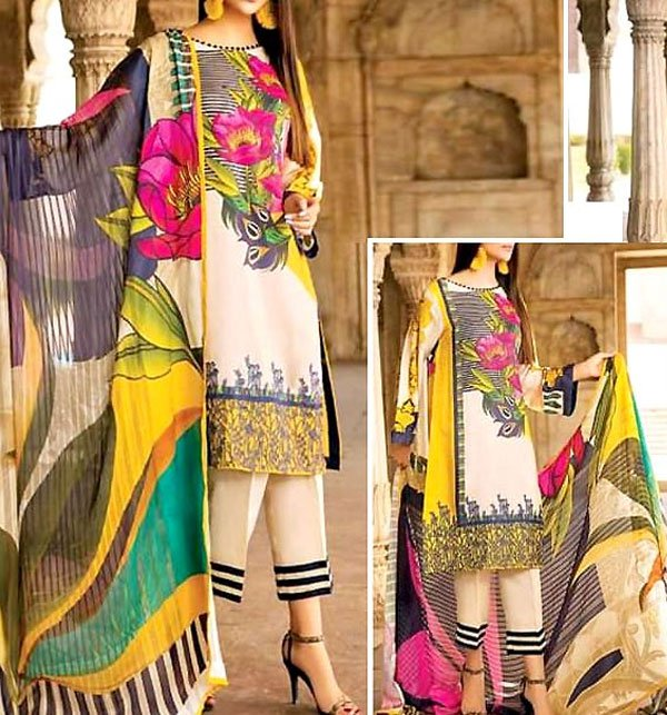 Vibrant Embroidered Lawn Dress 2019 with Chiffon Dupatta (DRL-264) (Unstitched) Price in Pakistan