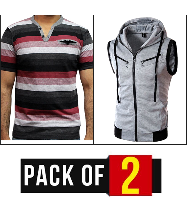 Pack OF 2 T-Shirt & Sleeveless Zipper Hoodies GREY Price in Pakistan