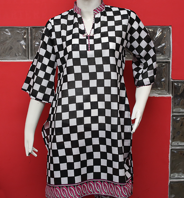 Women Black & White Printed Lawn Kurti (EK-124) (Stitched) Price in Pakistan