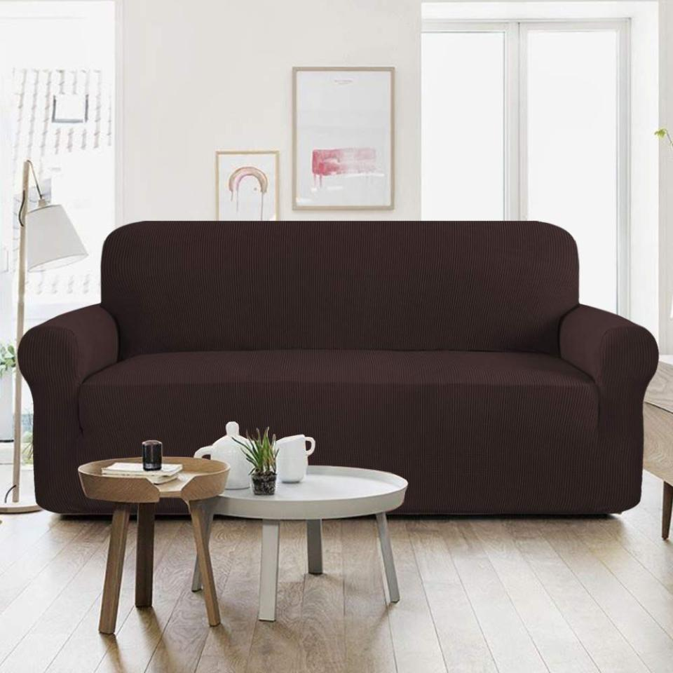 7 Seater Jersey Sofa Cover - Dark Brown