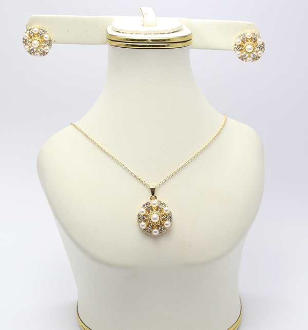 Artificial Golden Necklace with Earrings (PS-131)
