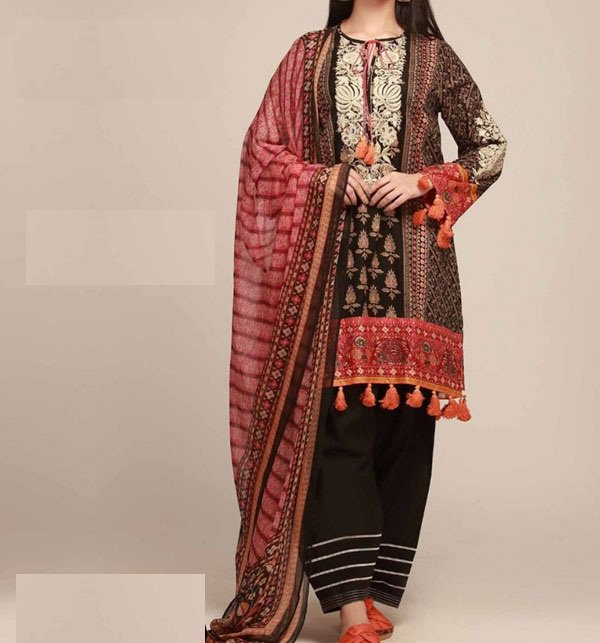 Designer Embroidered Lawn Suit With Chiffon Dupatta (DRL-338) (Unstitched)