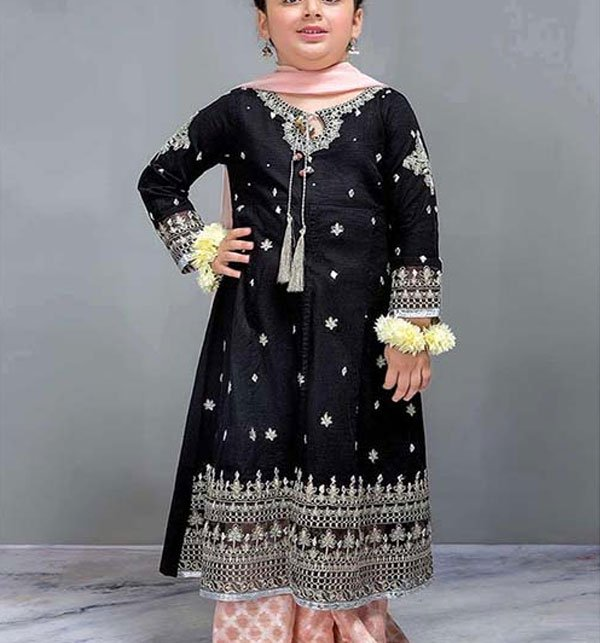 Designer Kids Collection 2019 Unstitched 2 Piece Suit Black - (101-DW) (Unstitched)