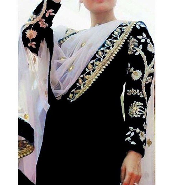 Embroidered Chiffon Black Suit Unstitched (CHI-35)