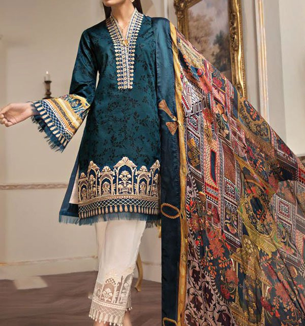 Neck Embroidered Lawn Unstitched Suit (DRL-286) (Unstitched)