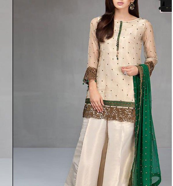 Weekend Deal Embroidered Masoori Dress With Chiffon Dupatta (CHI-184)