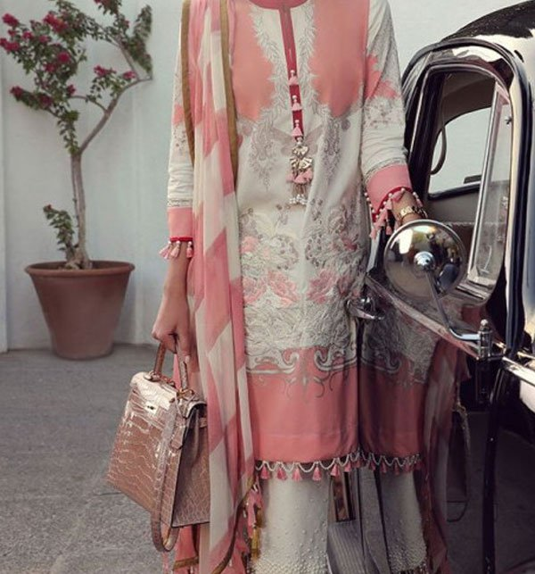 Linen Embroidered Dress With Chiffon Dupatta (Unstitched) (LN-58)