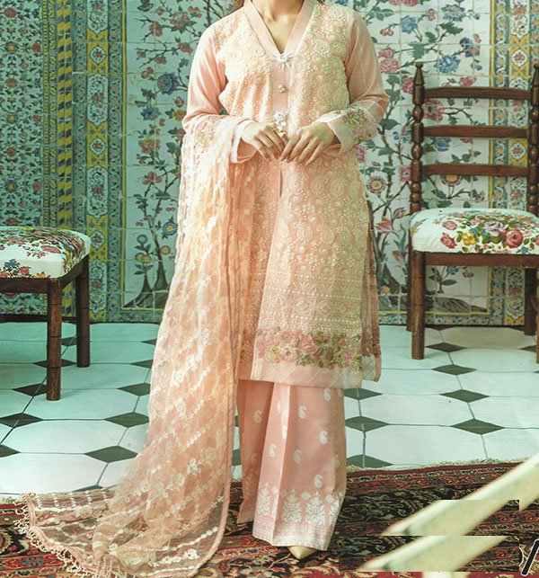 SALE Heavy Embroidered Chiffon Suit Party Wear Dress 2019 (CHI-279) (Unstitched)
