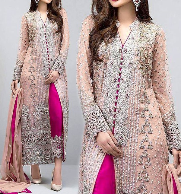 Heavy Embroidered Peach Chiffon Unstitched Dress (CHI-131)