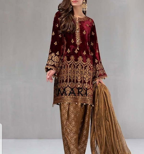 Embroidered Velvet Suit With Brosha Net Dupatta UnStitched (CHI-183)