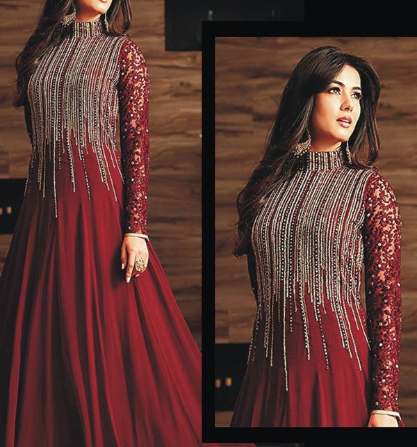 (PAKISTAN DAY SALE) FULL Chiffon Embroidery Maxi Dress (CHI-244) (Unstitched)