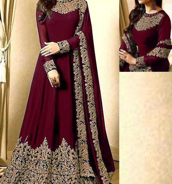 11 11 MEGA SALE Indian Embroidered Maroon Chiffon Maxi (CHI-250) (Unstitched)