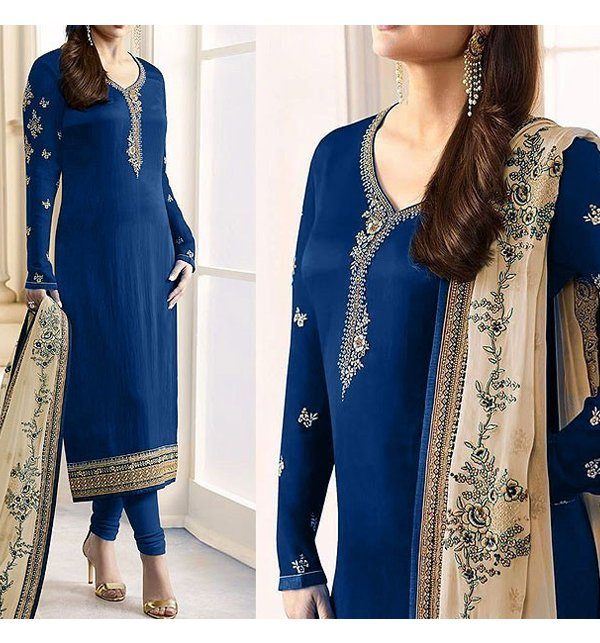UnStitched Indian Embroidered Navy Blue Chiffon Dress (CHI-128)
