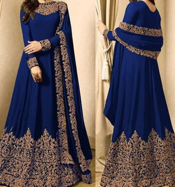 Indian Embroidered Navy Blue Chiffon Maxi Unstitched (CHI-168)