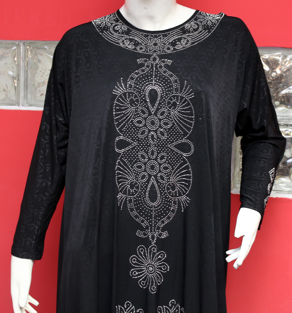 Jersey Self Print Abaya With Scarf (AB-47)