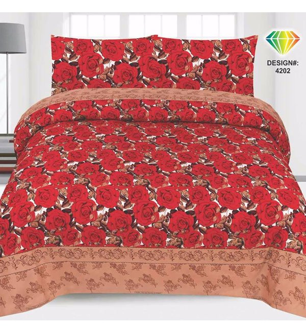 King Size PC Crystal Cotton Bed Sheet (3D-44)