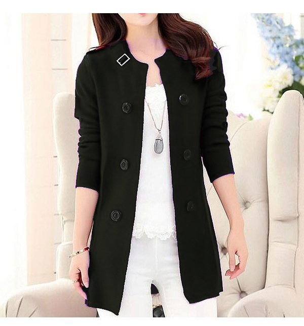 Korean Style Ladies Fleece Coat - Black