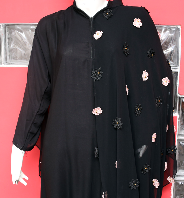 Latest Embroidered Butterfly Nida Fabric Abaya (AB-50)