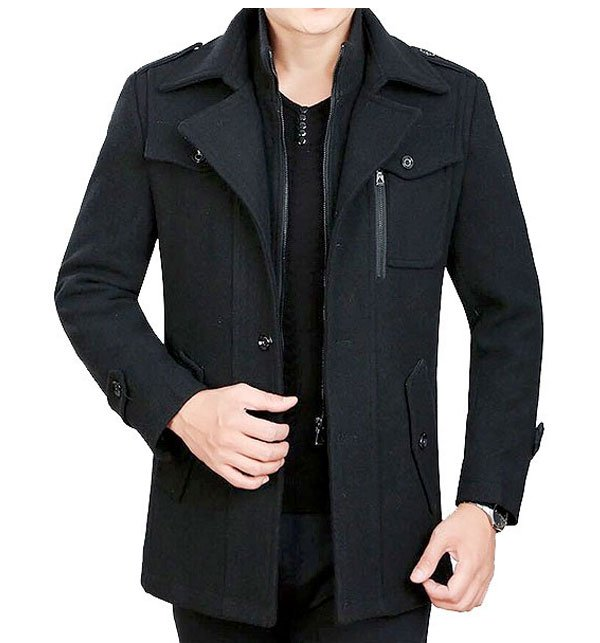 Mens Black Fleece Winter Coat
