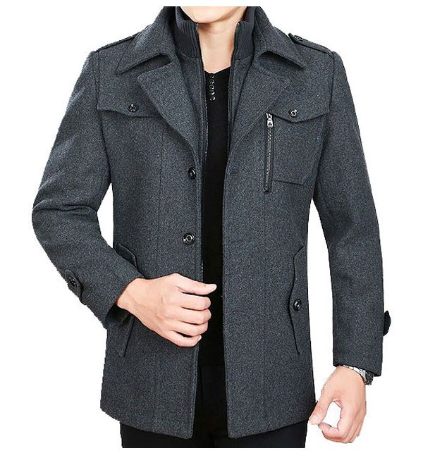 Mens Charcoal Fleece Winter Coat
