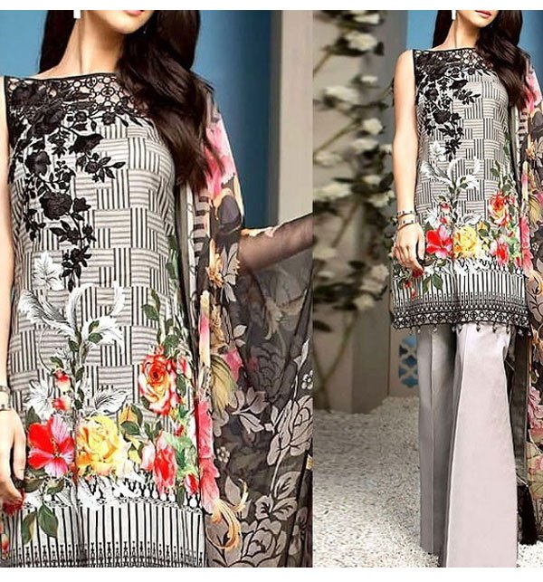 Neck Embroidered Linen Dress with Chiffon Dupatta (Unstitched) (LN-72)