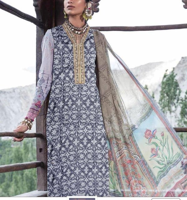 11 11 MEGA SALE Linen Embroidered Suits With Chiffon Dupatta Unstitched (LN-80)