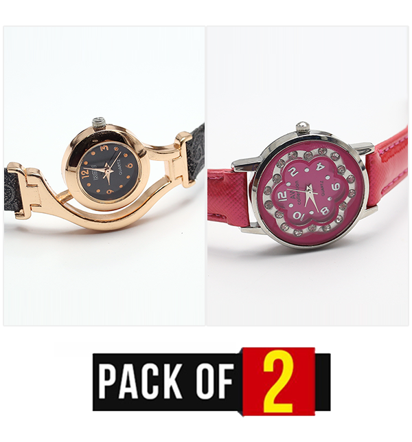Pack Of 2 AW Collection Women Quartz Watch - (CW-109 & CW-110)