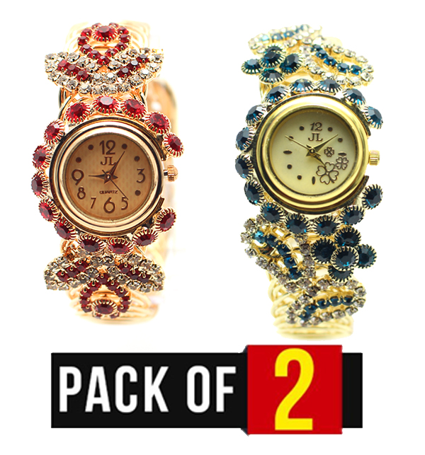 Pack of 2 - Women's Stones Wrist Watches (CW-58) & (CW-59)