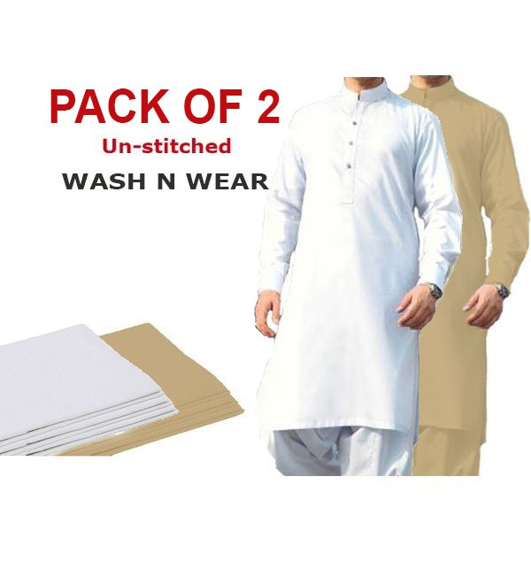 Pack of 2 Wash n Wear Men's Shalwar Kameez Unstitched (MSK-10) & (MSK-21)