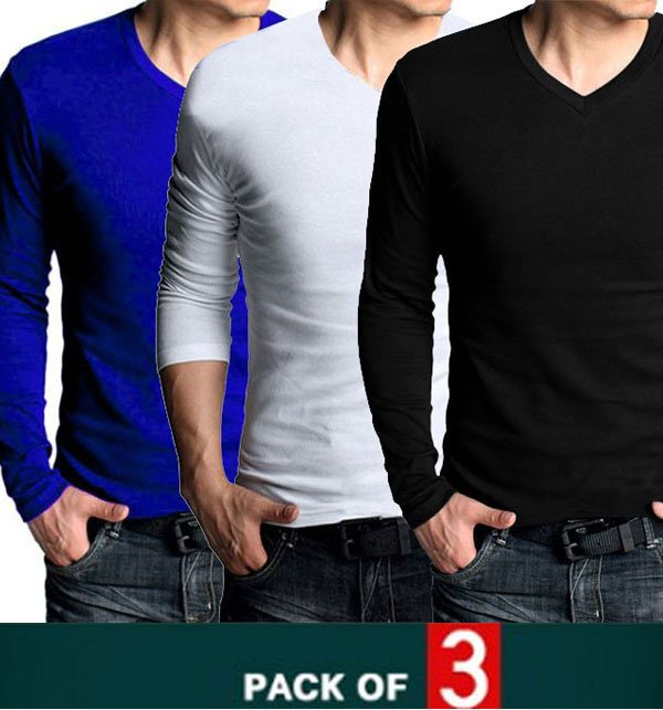 Pack of 3 V-Neck Long Sleeves T-Shirts (Deal 1) FREE SHIPPING