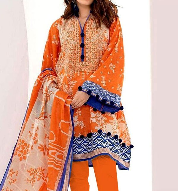 LINEN Embroidery Dress with Chiffon Dupatta (Unstitched) (LN-71)