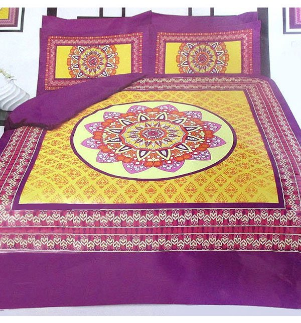 Panel Design Egyptian Cotton Bed Sheet with 2 Pillow Covers (EC-12)