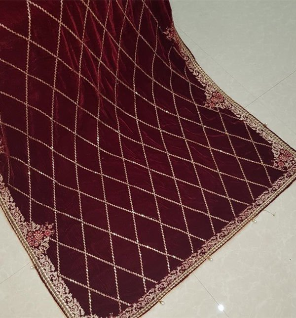 Pure Pakistani Maroon Embroidered Velvet Shawl