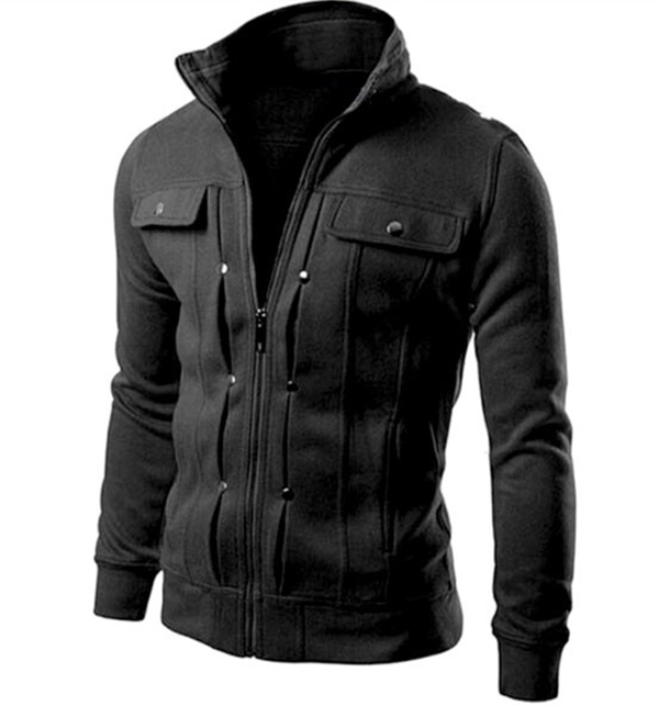 Stylish Mens Fleece Jacket Black