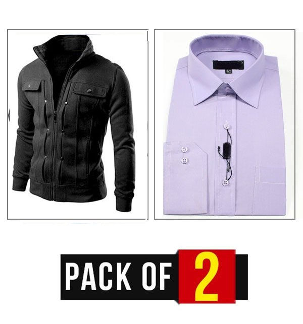 Winter Pack OF 2 Men's Fleece Jacket Black & Formal Shirt (FS-05)