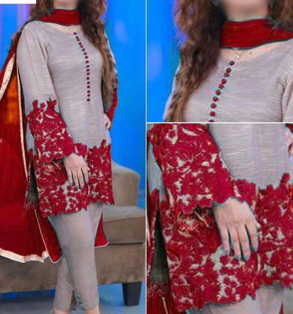 Embroidered Silk Dress with Chiffon Dupatta (CHI-262) (Unstitched)