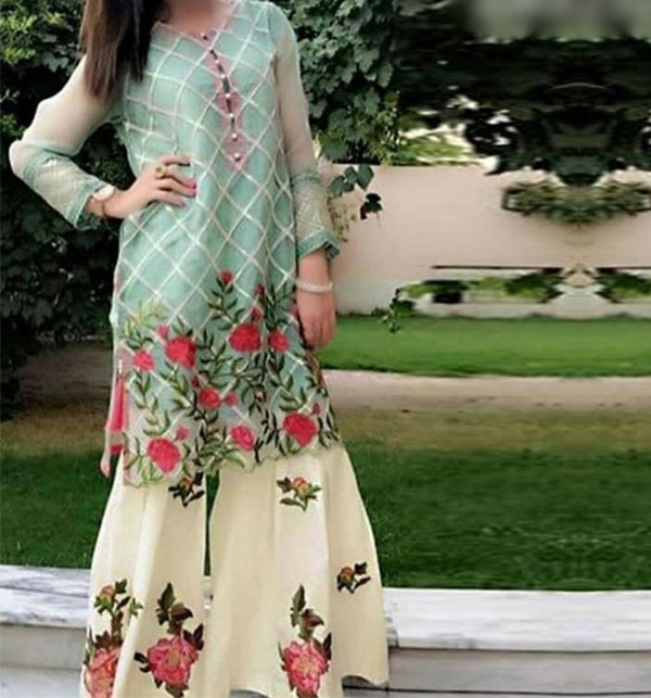 Heavy Full Embroidered Lawn 2-Pcs Dress 2020 With Embroidered Trouser UnStitched (DRL-603)