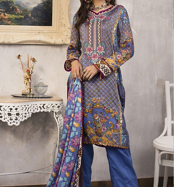 3 Star Printed Lawn Suit With Lawn Dupatta (3 Star-08) (Unstitched)