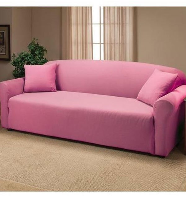 5 seater Jersey Sofa Slipcover - Pink (3 + 1 +1 Seater)