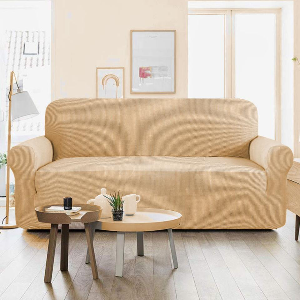 7 seater Jersey Sofa Cover - Camel
