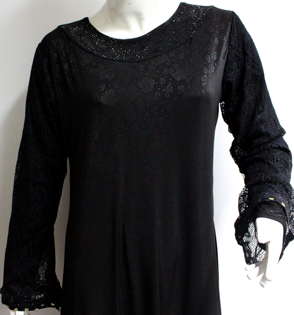 Self Print Jersey Abaya for Women With Scarf (AB-43)