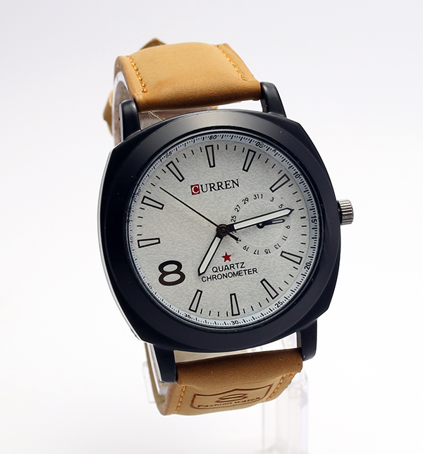 Curren Brown Leather Analog Watch White Dial (CW-80)
