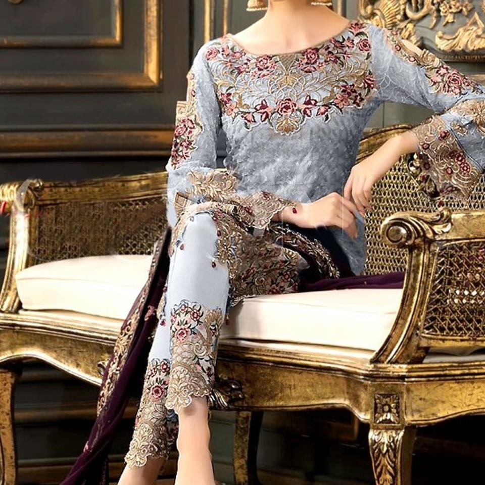 Designer Chiffon Embroidery Suit 2020 With Chiffon Embroidery Duppata (CHI-268) (Unstitched)