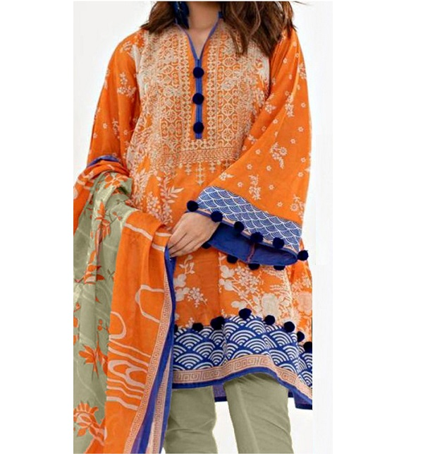 Lawn Embroidered Suit With Chiffon Dupatta (DRL-324) (Unstitched)