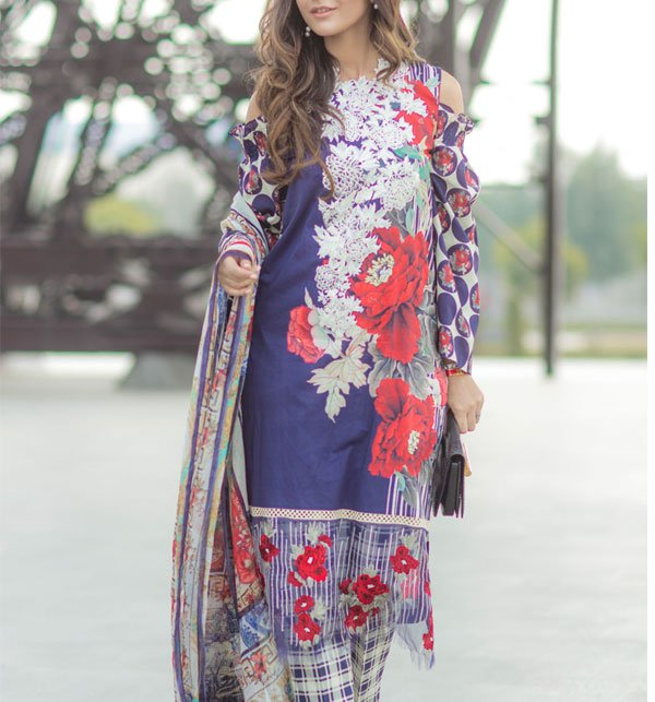 Lawn Embroidered Suit 2019 With Chiffon Dupatta (DRL-355) (Unstitched)