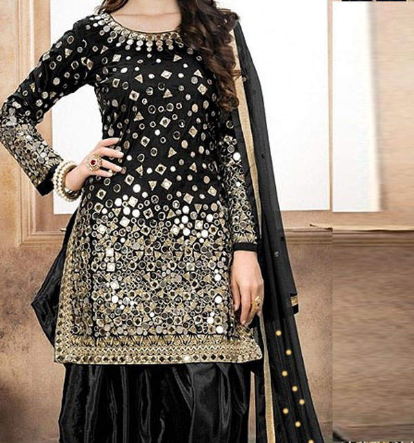Embroidered Black Chiffon Party Dress (Unstitched) (CHI-163)