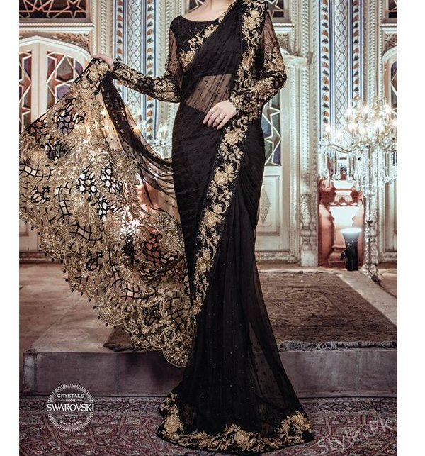 Embroidered Black Chiffon Saree Unstitched (CHI-79)